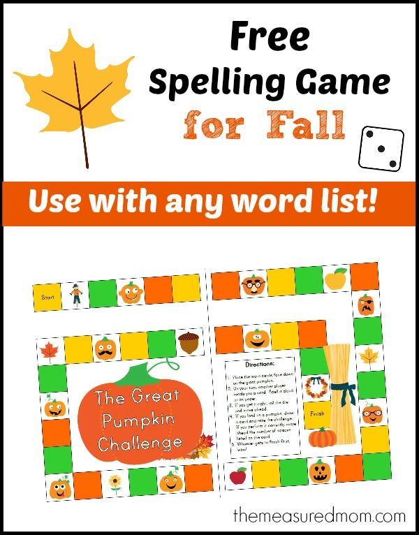 Here's a great FREE spelling game from the Measured Mom that you can use with any word list – and it's designed just for Fall!  FHD feat
