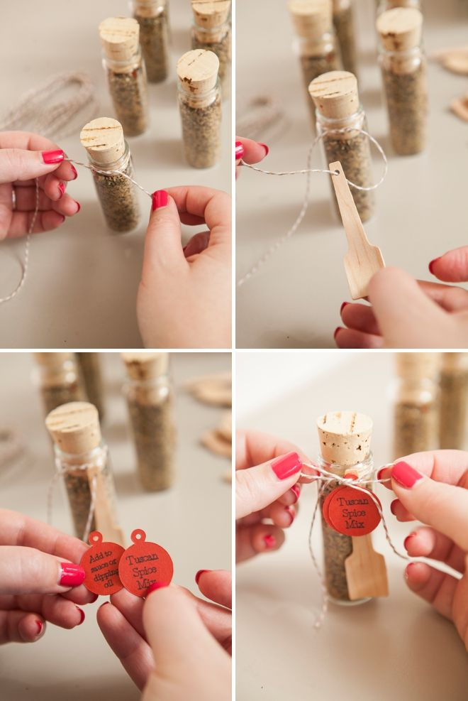 Make your own adorable spice dip mix wedding favors!