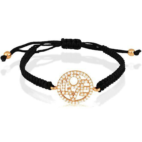 """Sterling Silver Rose-Gold Plated CZ """"Love"""" Circle on Black Cord Macrame Bracelet Beaux Bijoux. $26.99. Gift box included. Can be delivered next Business Day!. Simple yet elegant design. Crafted of 925 Sterling Silver. Save 46% Off!"""