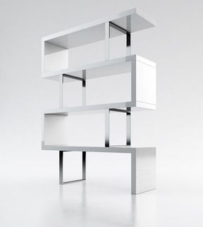 The Modloft Pearl Bookcase is a striking modern bookcase for any room. Featuring four fixed hardwood shelves with ladder-style steel chrome supports, this elega