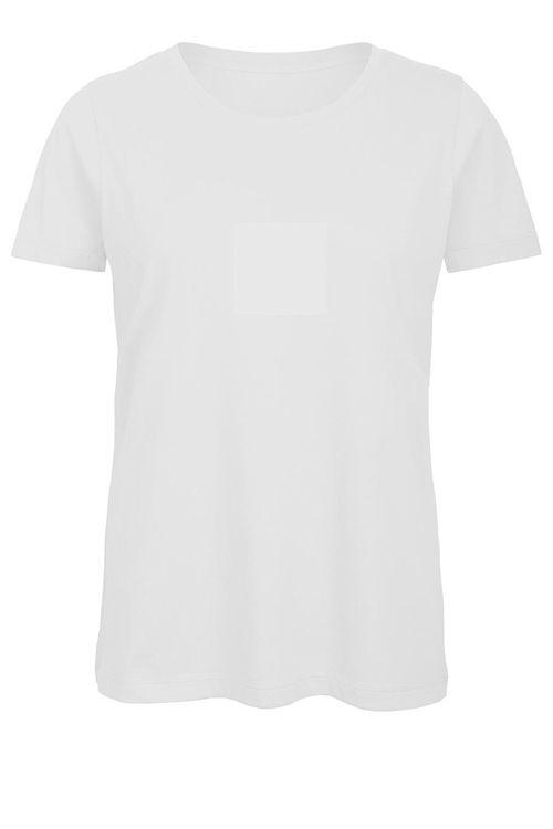 Tricou alb de damă B&C Collection din 100% bumbac organic #tricouri #albe #femei #personalizate #textile #promotionale