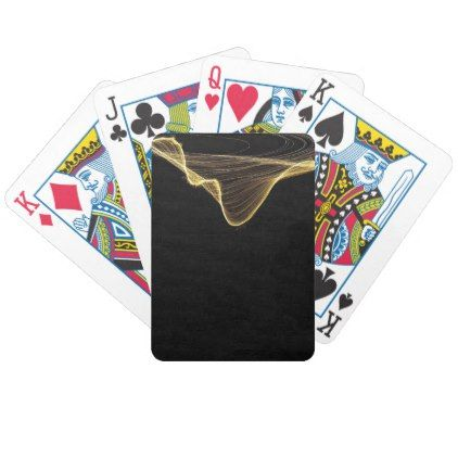Gold Ribbon Abstract on Black Background Bicycle Playing Cards - retro gifts style cyo diy special idea