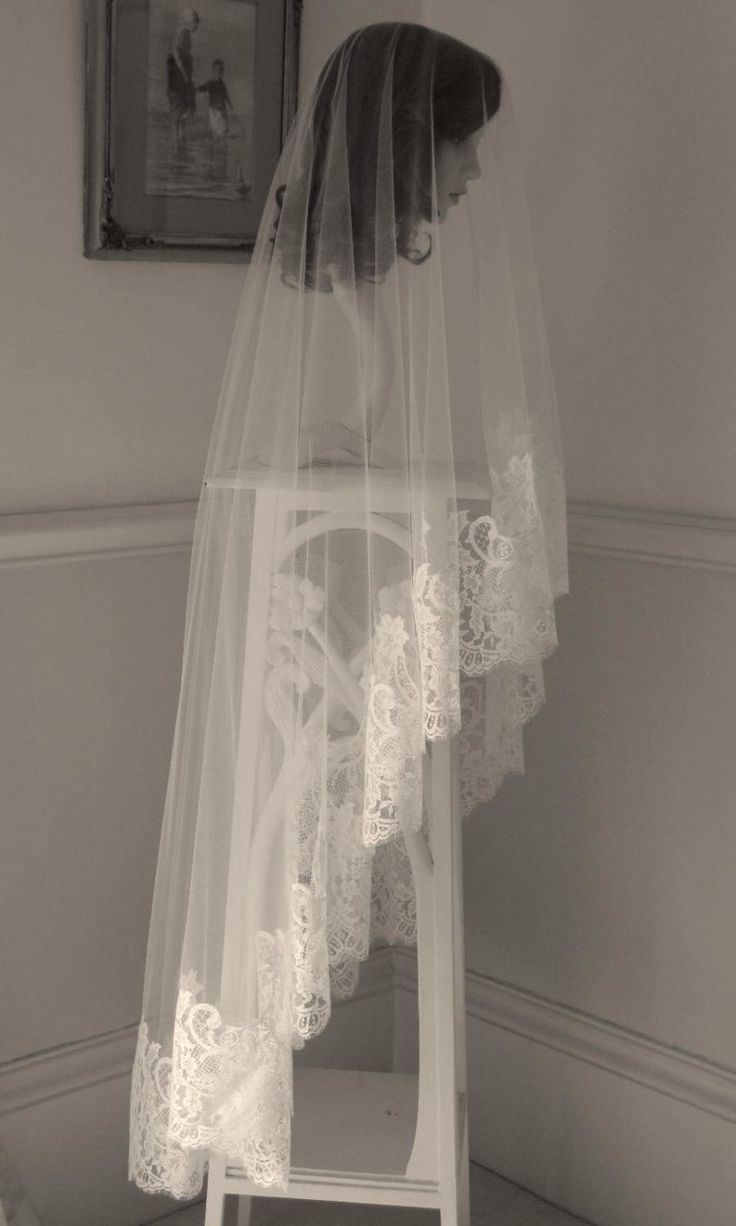 Chantilly lace drop veil - Chateau by CoutureWeddingVeils on Etsy https://www.etsy.com/listing/168134266/chantilly-lace-drop-veil-chateau