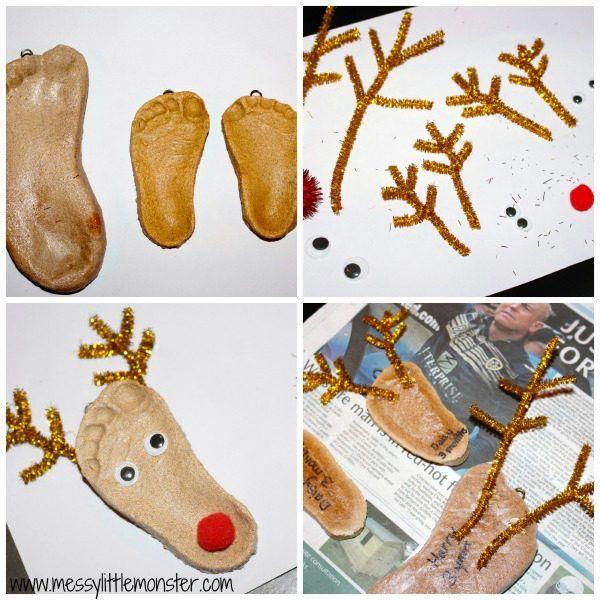 Making Reindeer Footprint Ornaments from Salt Dough