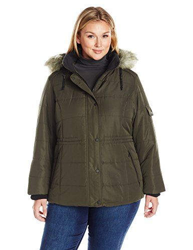 Details Women's Plus Size Puffer Coat with Black Contrast Trim and Faux-Fur Trimmed Hood, Olive, 2X * Click image to review more details.