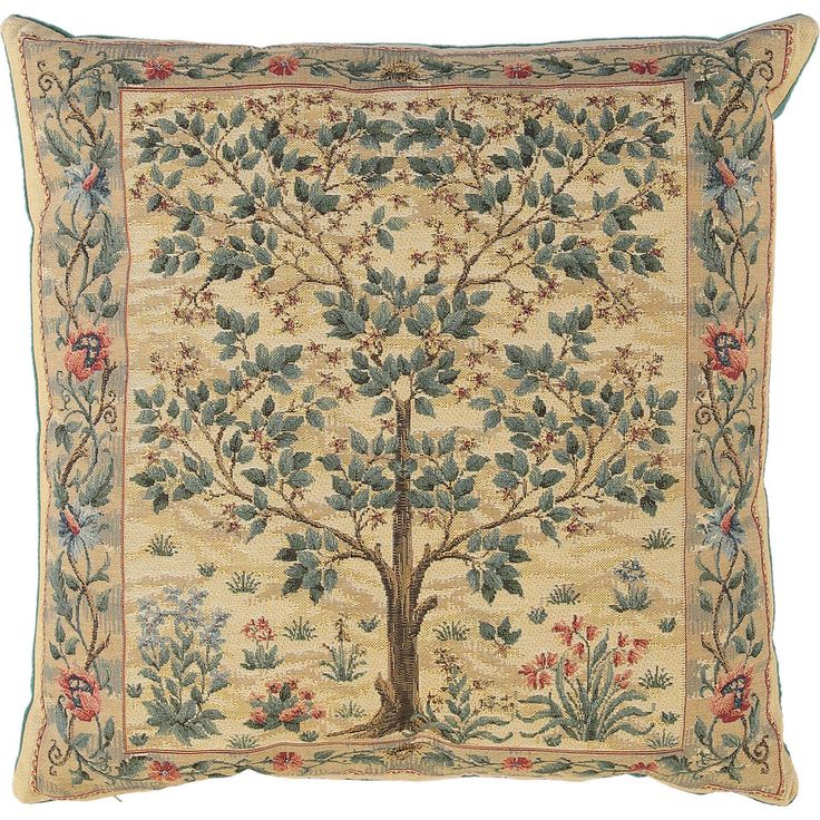 Gold Tree Of Life Tapestry Cushion 46x46cm Living Room