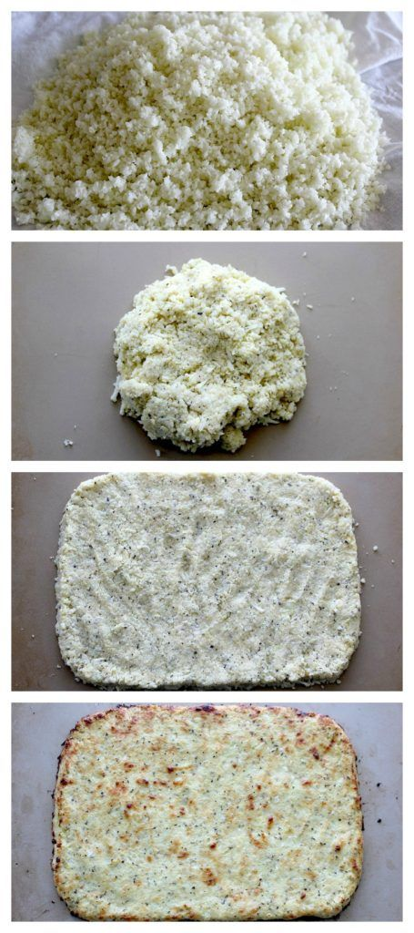 Cheesy Cauliflower Pizza Crust - holds together better and gets crispier edges than any other cauliflower pizza crust I've tried! Easy to make, Gluten Free and Low Carb!
