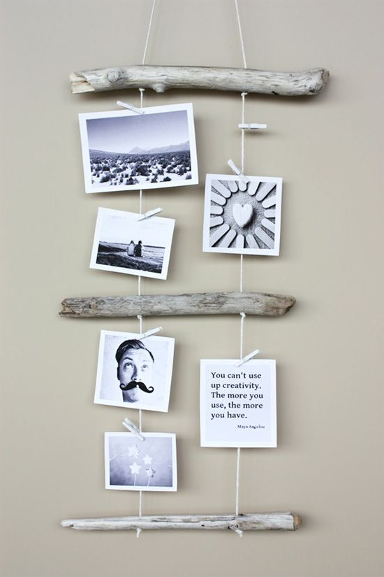 5 Creative Ways to Hang Artwork Without a Frame-this one would be especially cool with photos and drift wood from a vacation!
