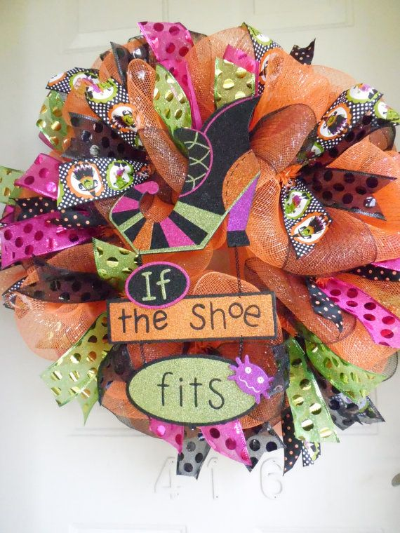 Witch Heel Boot If the Shoe Fits Halloween Mesh Wreath with Polka Dot Ribbon by TowerDoorDecor, $60.00
