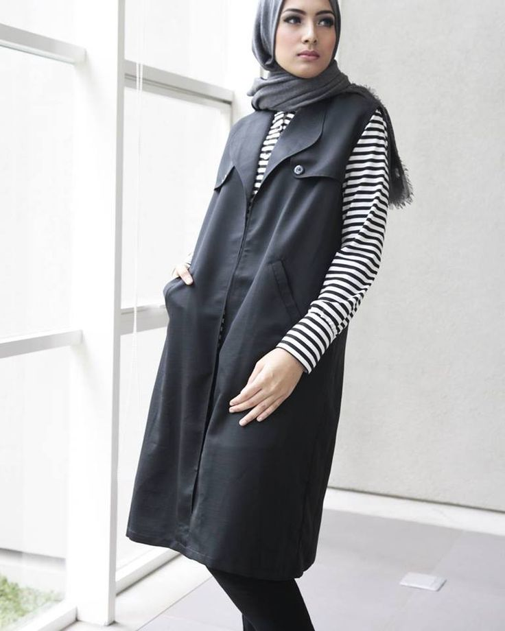 Noreen outerwear in black: Balotelli satin, thin & cooling. Sleeveless with featured design in front for smart casual, urban chic wear with 2 side pockets and nursing-friendly.