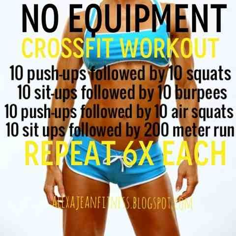 Fitness & Health: No Equipment CrossFit Workout  I'd replace the run with jumping jacks or the elliptical if I had time for it.