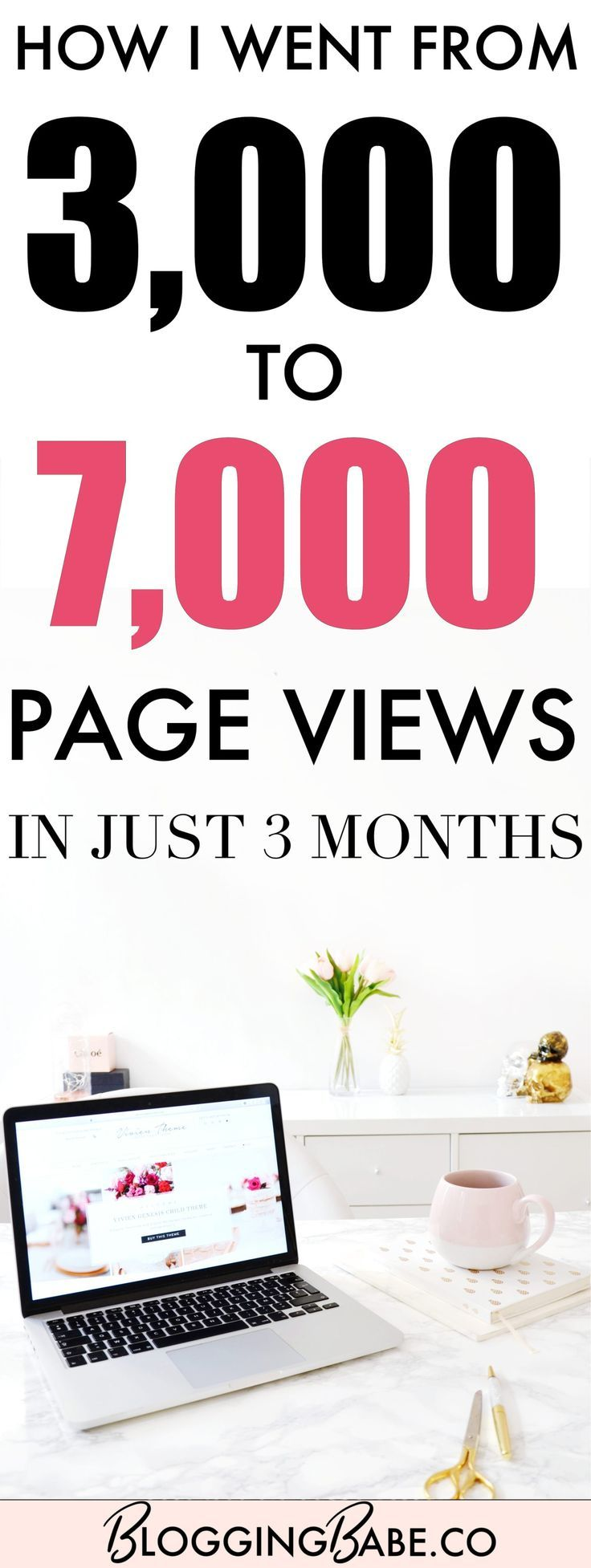 I had 3,000 views in my second month of blogging, and 7,000 views three months later in my fifth month, which I think, is not bad at all! So today I'm telling you EVERYTHING about my blog traffic growth, giving you my best tips, tools and strategies to grow your traffic, and more!