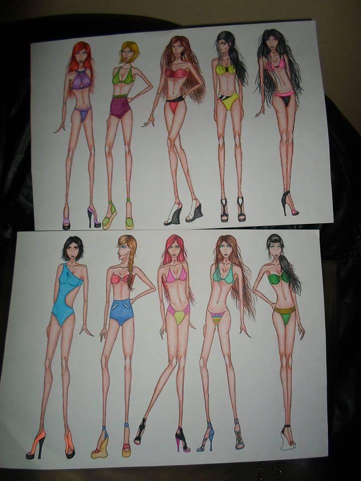 Trabalho realizado para o Centro Universitário Moura Lacerda, curso de Moda, entregue 24/09/2013 , 10 croquis de Moda, femininos, moda praia