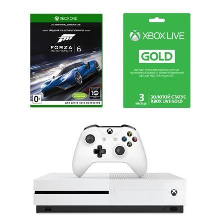 Microsoft Xbox One S 500 Гб + игра Forza Motosport 6 + Xbox Live Gold на 3 месяца  — 26890 руб. —  Xbox One Microsoft S 500Gb + Forza MS 6 + 3 месяца Xbox Live Gold – комплект для любителей современных игр. В него, наряду с высокопроизводительной приставкой и увлекательной игрой, входит доступ к сервису Xbox Live. Это позволяет общаться с друзьями и играть с ними онлайн, а также получить доступ к коллекции специально отобранных бесплатных игр. Компактная игровая консоль Microsoft Xbox One S…
