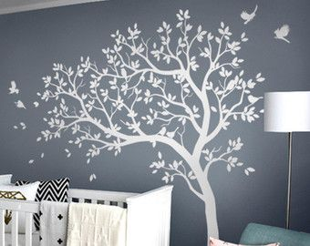 White Tree Decal Large Nursery Decals With Birds Uni Wall Tattoos Mural Removable Vinyl Sticker 032 In 2018 Hove