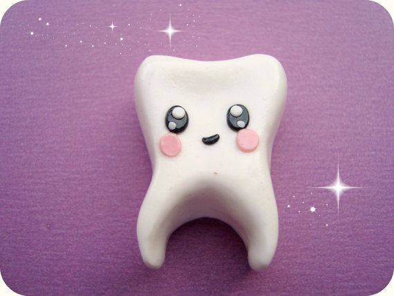 Kawaii Baby Tooth Brooch polymer clay