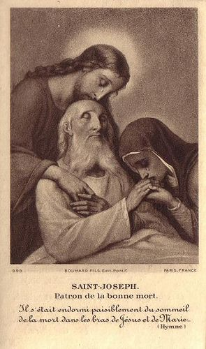 O St. Joseph, foster father of Jesus Christ,  and true Spouse of the Virgin Mary, pray for us and those in their agony this day (or this night)