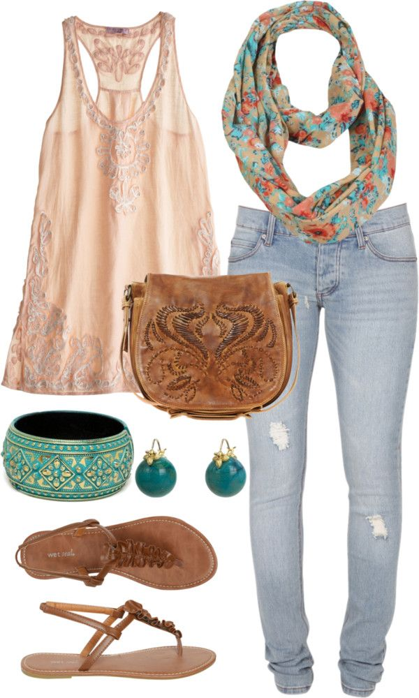 flowy top, light denim, floral scarf, turquoise