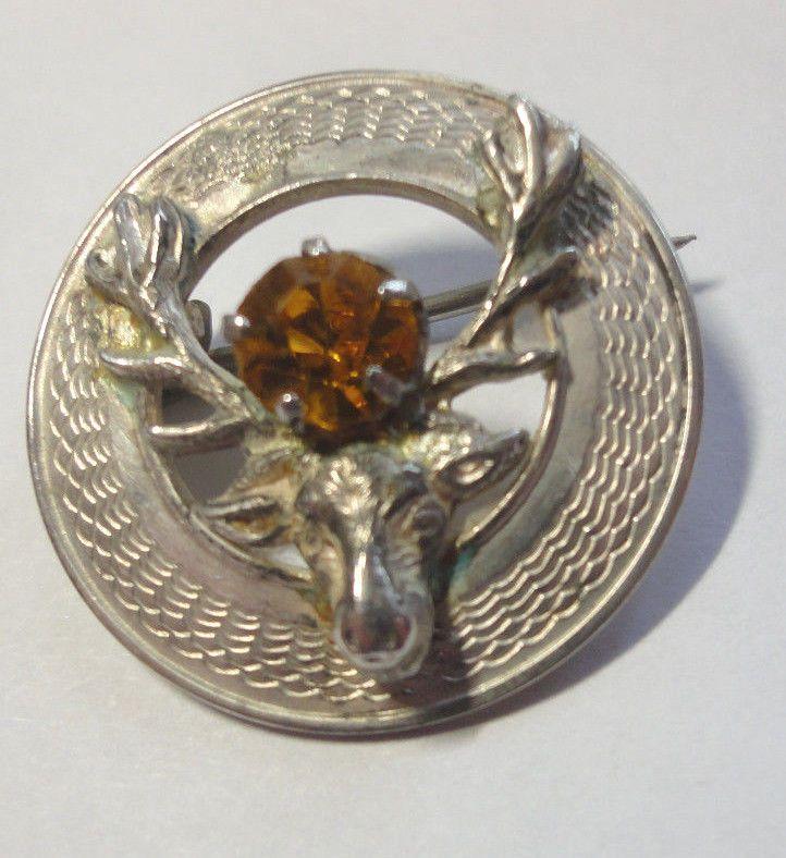 Stag Brooch, Vintage Embossed Circular Sterling Silver WBS Stag & Citrine Brooch