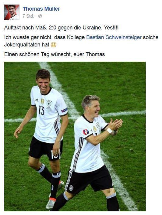 FB Post von Thomas Müller an Schweinsteiger bei der #EM2016... --- http://www.marco-reus-trikot.de/em-randnotiz-deutschland-vs-ukraine/ --- Thomas Müller DFB Trikot: http://www.marco-reus-trikot.de/thomas-muller-deutschland-trikot/ ---- #JederFürJeden #dieMannschaft #Germany