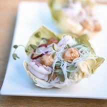 Prawn, Noodle and Macadamia Lettuce Cups