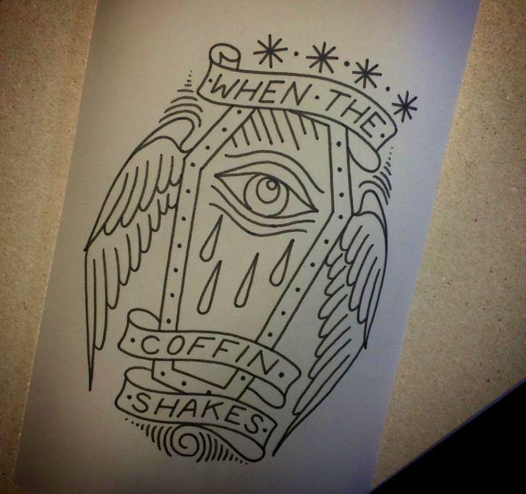 Deftones Diamond Eyes coffin tattoo flash