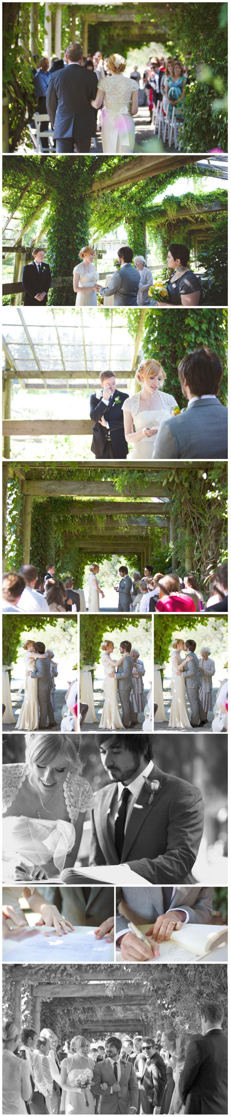Outdoor wedding under the arbour. Smooch! France Edward Photo wedding photos at UBC Botanical Garden, Vancouver, BC