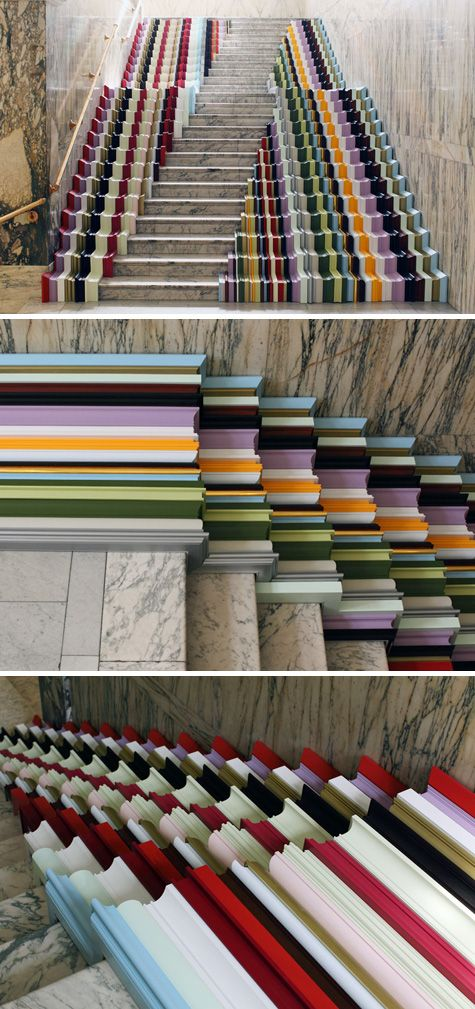 Framed is a cascading rainbow of painted wooden frames installed on a marble staircase in the Victoria & Albert Museum for the London Design Festival. It was created by Stuart Haygarth in conjunction with art framers John Jones.