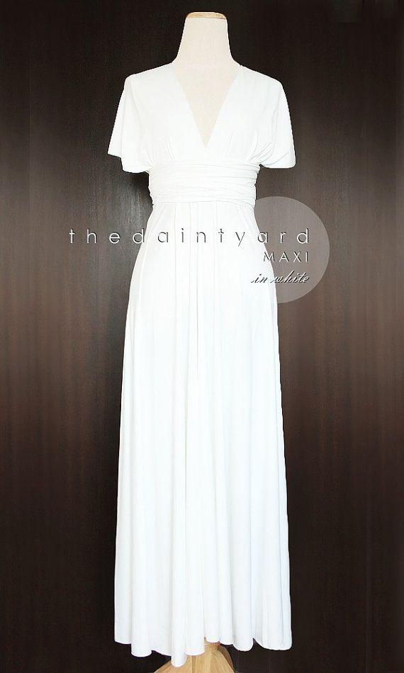 MAXI White Bridesmaid Dress Convertible Dress by thedaintyard