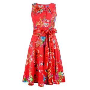 Lien & Giel Dee Dress Butterfly floral Geranium red jurk rood vlinder en bloemen print 1950s look vintage retro style