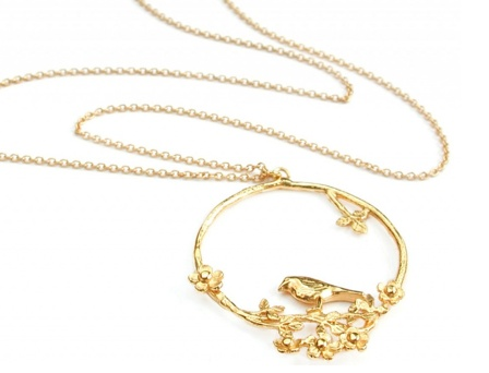 Alex Monroe 'Birdlife' flowery bird loop gold vermeil necklace