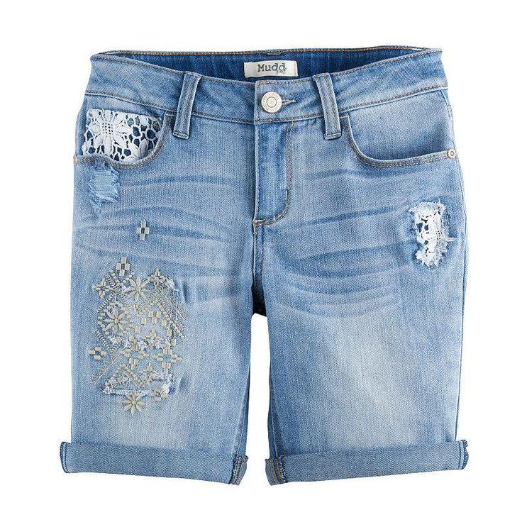Girls 7-16 & Plus Size Mudd® Embroidered Denim Bermuda Shorts, Size: 16 1/2, Light Blue
