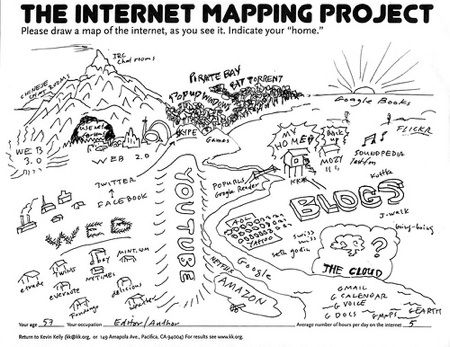Mapping the geography of online. From http://www.kk.org/ct2/2009/06/the-internet-mapping-project.php