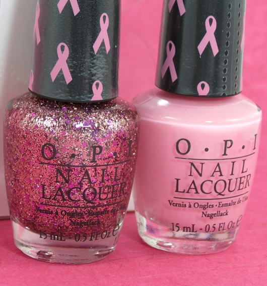 Review & Swatches: OPI 'Pink of Hearts' Collection for October 2012 -- 'I Think in Pink' & 'You Glitter Be Good to Me'