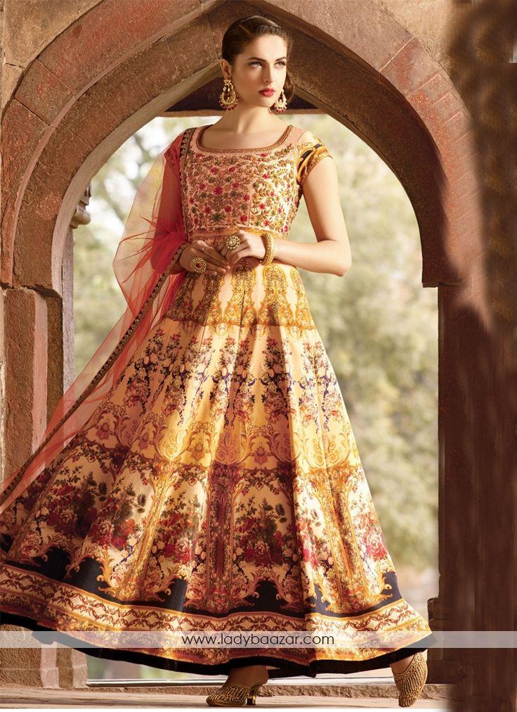 Remarkable Bhagalpuri Silk Digital Print Anarkali Suit #DigitalPrint…