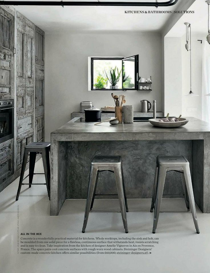 Industrial style kitchen from Elle Decoration France