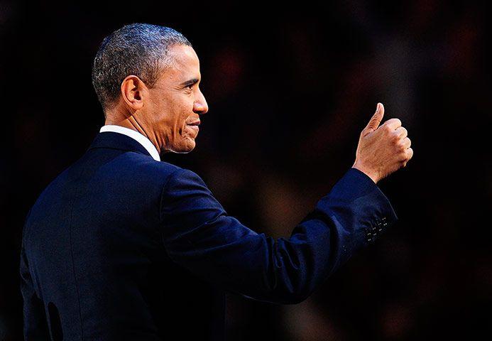 Election celebrations: US President Barack Obama arrives on sta