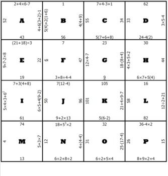 Order of Operations Middle School Math Puzzle - Michael Royal - TeachersPayTeachers.com