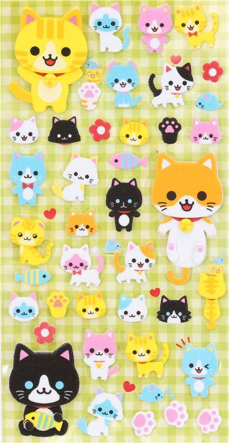 cute foam 3D sticker with cats Japan kawaii 2