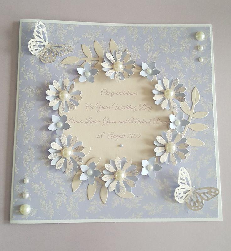 Flower wreath wedding congratulations card