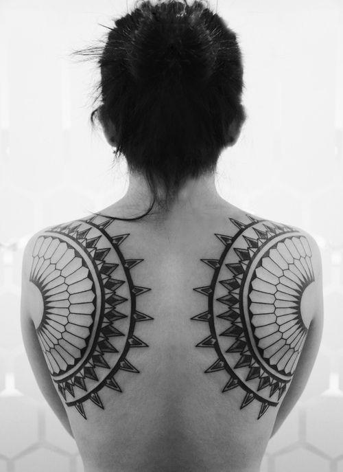 """thestarlighthotel:    Symmetrical back tattoo | Roxx at 2Spirit Tattoo"""