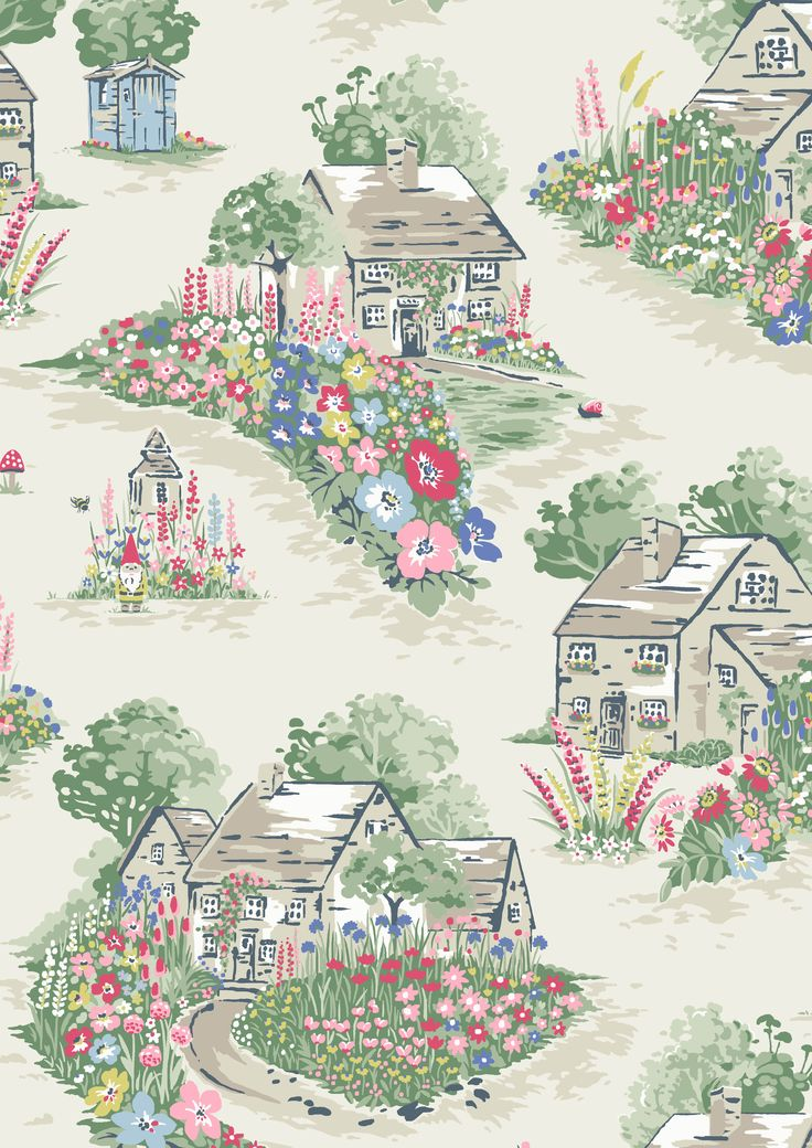 Spring Cottage | Beautifully detailed Spring Cottage tells the story of the season, with idyllic country cottages surrounded by borders planted with colourful blooms taken from our floral prints. Look out for the gnomes and insects that have been borrowed from other prints within this evocative design too | Cath Kidston SS16 |