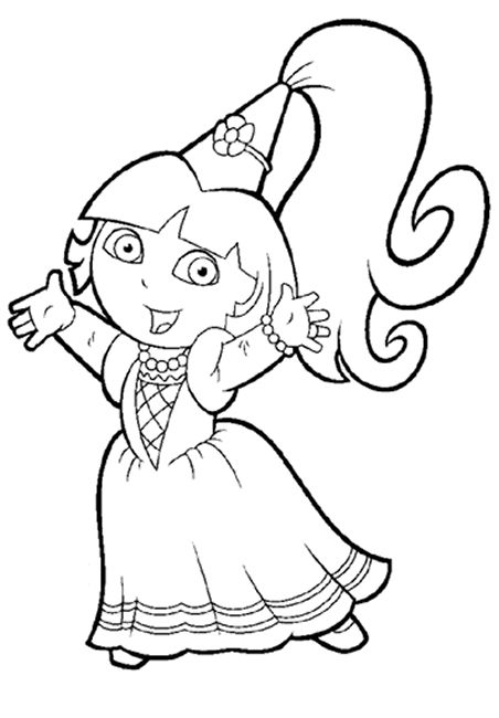 download and print princess dora the explorer coloring page - Printable Coloring Pages Dora
