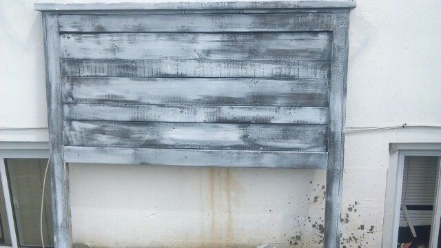 Headboard stained dark walnut and white primer fo rustic look