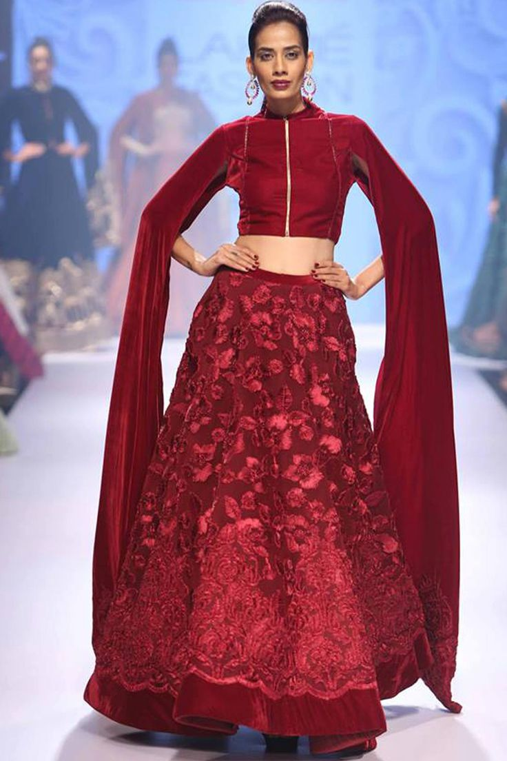 Maroon ribbon work velvet lehenga set available only at Pernia's Pop Up Shop.