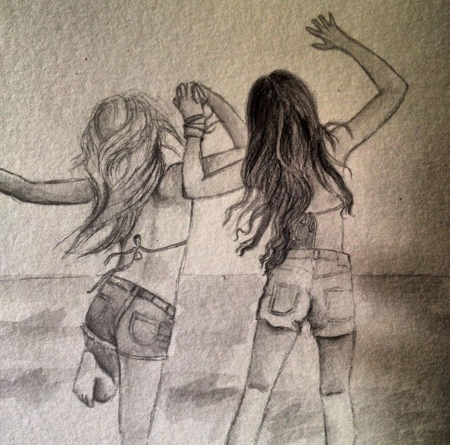 Картинки девушек подруг карандашом