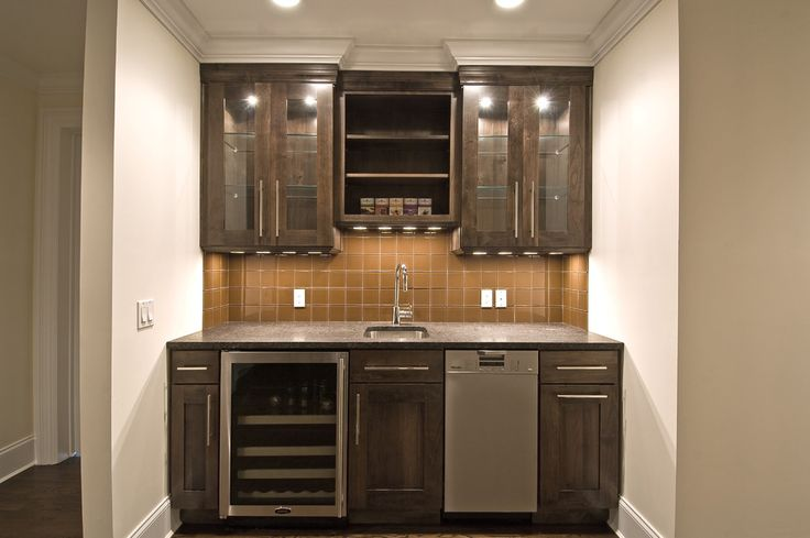 Simple Wet Bar Design With Open Shelving, Shaker-style
