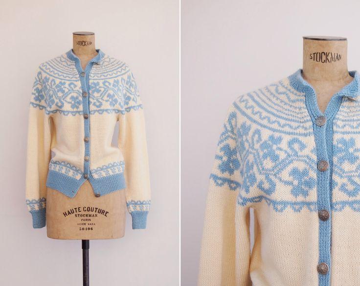 1950s Cardigan - Vintage 50s Icelandic Cardigan - Briksdal Cardigan by GoldenCraneVintage on Etsy https://www.etsy.com/listing/226582916/1950s-cardigan-vintage-50s-icelandic