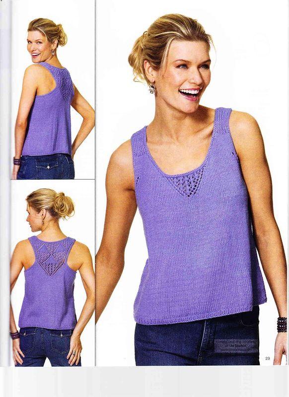 Фиолетовый топ спицами с ажурной спиной - Топы и майки