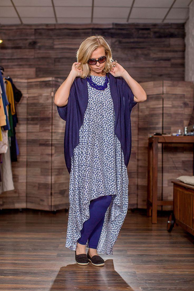 Я732:Летящее платье из батиста, размер 46/48. NST. Накидка из вязанного трикотажа. Размер 46/48. Tinona
